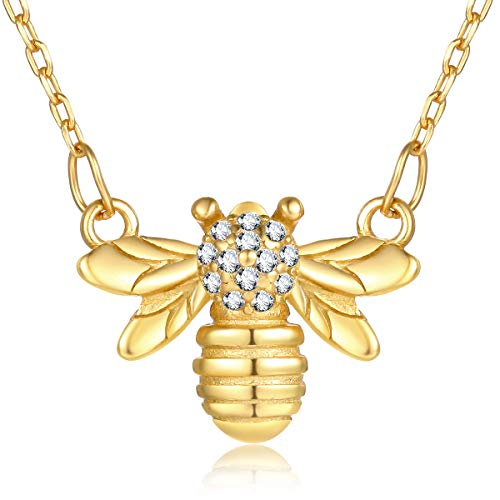 Bee Necklace Charm (VACRONA Gold Bumblebee Pendant Necklaces,18K Gold Filled Dainty Handmade Cubic Zirconia Charm Honey Bee Necklaces for Women)