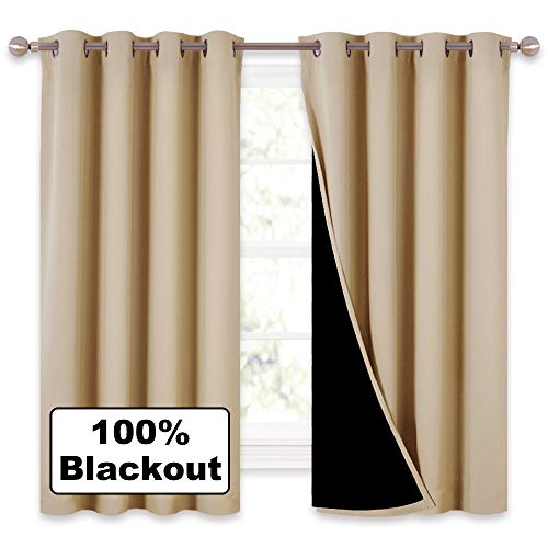 NICETOWN Bedroom Full Blackout Curtain Panels, Super Thick Insulated Window Covers, Complete Blackout Draperies with Black Liner for Short Window(Biscotti Beige, Set of 2 Pcs, 52 by ()