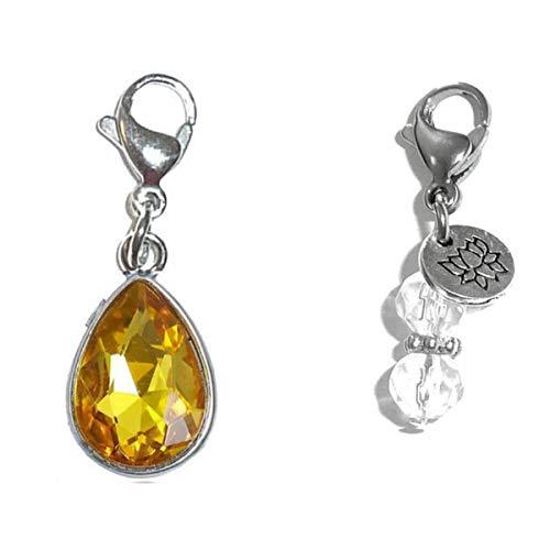 (Hidden Hollow Beads Clip On Charm, Bag, Purse, Handbag, Message, Keychain, Zipper Pull, Bracelets, Necklaces, Jewelry (Birthstone November))