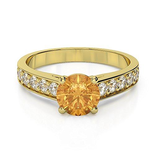 Or jaune 18carats 1CT G-H/VS sertie de diamants ronds Cut Citrine et bague de fiançailles Agdr-1202