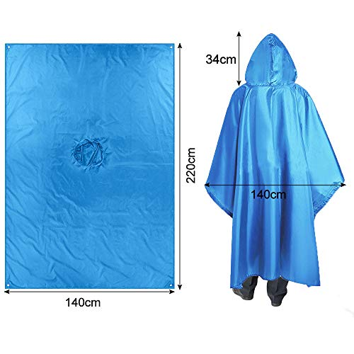 3-in-1 Multi-Functional Waterproof Poncho Hooded Outdoor Adult Waterproof Raincoat,Sunshade Tarp,Tent Ground Sheet Mat 85.4 x 56.3 inches Polyester Fabric