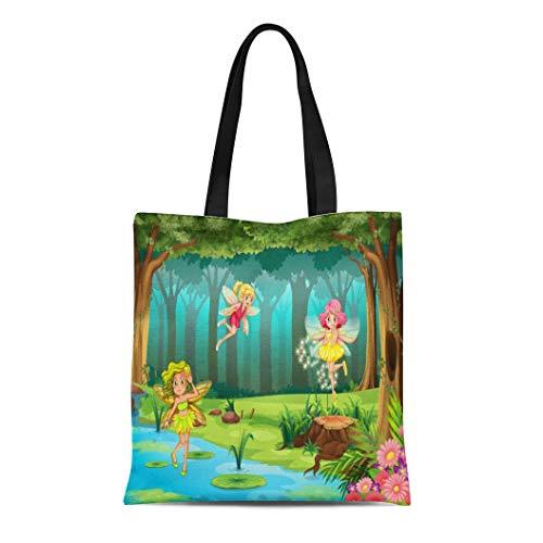 Semtomn Canvas Tote Bag Shoulder Bags Forest Cartoon of Fairies Flying in the Jungle Fairy Women's Handle Shoulder Tote Shopper Handbag - Fairies Fairy Handbag