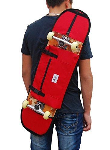 Zaino per trasportare lo skateboard completo, idea regalo per i giovani pattinatori. 7.5-8.5 skateboard. Rosso.