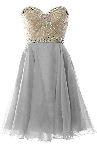 Short Party MACloth Prom Gown Formal Silber Women 2016 Dress Strapless Wedding Chiffon aIIH8q