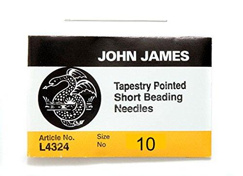 (John James Tapestry Point/Ballpoint Short Beading Needles, Sizes 10 & 12 (10))