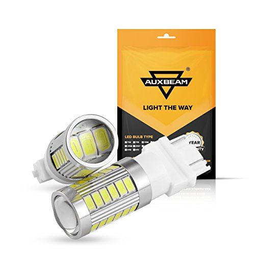 Auxbeam 3157 Led Light Bulbs T25 P27 5w Turn Signal Light Bulb High Power 33 Smd Light Bulb Super Bright Xenon White Led Bulb For Switchback Reverse Light Set Of 2