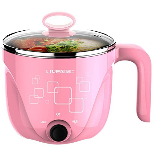 1L LIVEN Electric Hot Pot with Healthy 304 Stainless Steel Pot Inside, Cook noodles and Boil Eggs Easy, Small Electric Cooker 600W 120V HG-X1001PK
