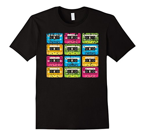 Cassette Tape Halloween Costume (Mens 80s TShirt Retro Cassette Tape | 80s Halloween Costume Tee Large Black)