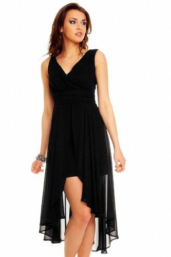 Vokuhila Abendkleid, Cocktailkleid, Kleid aus Chiffon in verschiedenen Farben Schwarz