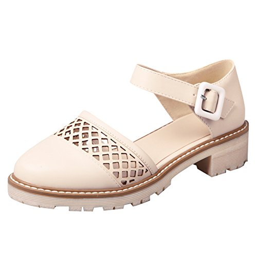 Mary Buckles Shoes Shine Hollows Janes Chunky Show Heel Women's Beige UqYgEZ