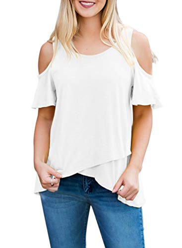 75fafbba6427 AlvaQ Women Summer Short Sleeve Cold Shoulder T-Shirt Tops Blouses (S-XXL