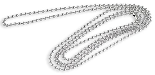 """Stainless Steel Dog Tag Bead Chain Necklace 2.3MM 38"""" Adjustable"""