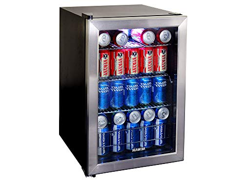 Nеwаir Home Decor Beverage Cooler and Refrigerator, Small Mini Fridge with Glass Door, Perfect for Soda Beer or Wine, 90-Can Capacity, AB-850