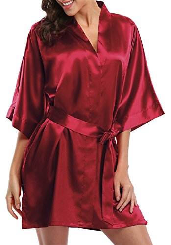 Wine Pure Silk (Giova Pure Color Satin Short Silky Bathrobe Sleepwear Nightgown Pajama,Wine Red,Large)