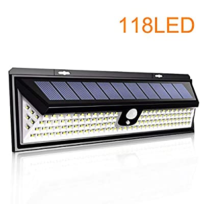 NewLite Upgraded 118 LED Solar Lights Outdoor, Solar Powered Motion Sensor Lights Waterproof IP 65 Patio Wall Light Wireless Security Night Light with 270°Beam Angle for Garden, Front Door, Yard