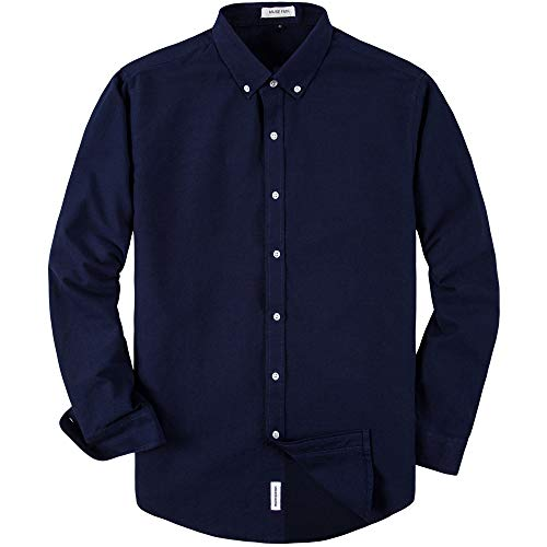 MUSE FATH Men's Long Sleeve Cotton Casual Button Down Party Dress Shirt-Navy Blue-M