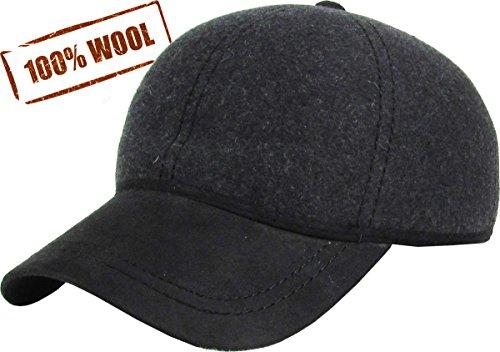 KBW-09 GRY Wool Felt Solid Baseball Hat (Wool Mens Ball Cap)