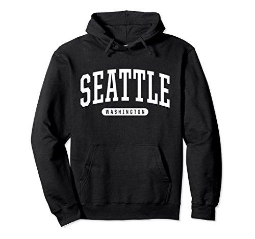 Unisex Seattle Hoodie Sweatshirt College University Style WA USA Large (Black Classic College Hoody Sweatshirt)
