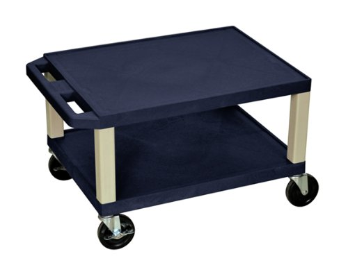 H.Wilson WT16 2 Shelves Putty Legs Tuffy AV Cart Navy by Luxor