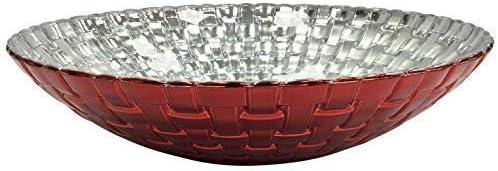 32cm Large Glass Salad Bowl Serving Bowl Platter Red /& Silver Gloss