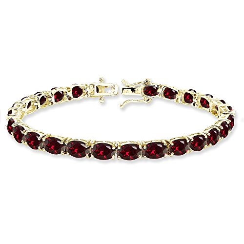 (Yellow Gold Flashed Sterling Silver 7x5mm Created Ruby Oval-cut Classic Tennis Bracelet)