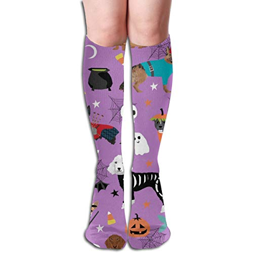 Dogs In Halloween Costumes Dog Breeds Dressed Up Fabric Purple Unisex Comfortable Crew Socks Athletic Casual Sock Best for Running, Athletic Sports, Flight Travel]()