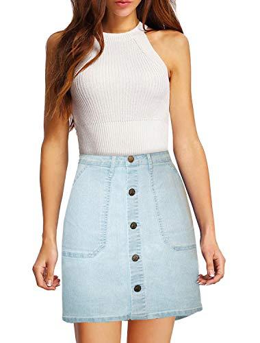 Womens Pull on Stretch Denim Skirt SKS48017 Light WASH 6 ()