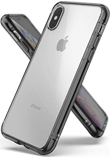Ringke Fusion Compatible with iPhone Xs Case, Clear Transparent PC Back TPU Bumper [Drop Defense] Raised Bezels Scratch Protection Natural Form Cover for iPhone X, iPhone Xs 5.8 - Smoke Black