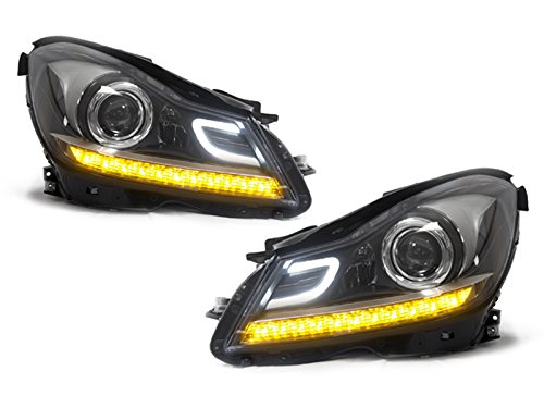 DEPO 2012-2014 Mercedes Benz W204 C Class 2D / 4D AMG C63 Style Black Housing Projector LED Strip Headlight Set