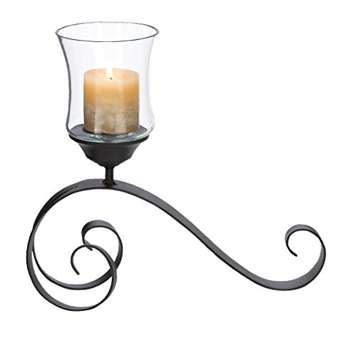 Deco 79 Metal Glass Candle Holder, 15 by 14-Inch