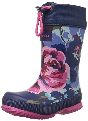 Joules Kid's Winter Welly Rain Boot, Navy Floral, 2 M US Little Kid