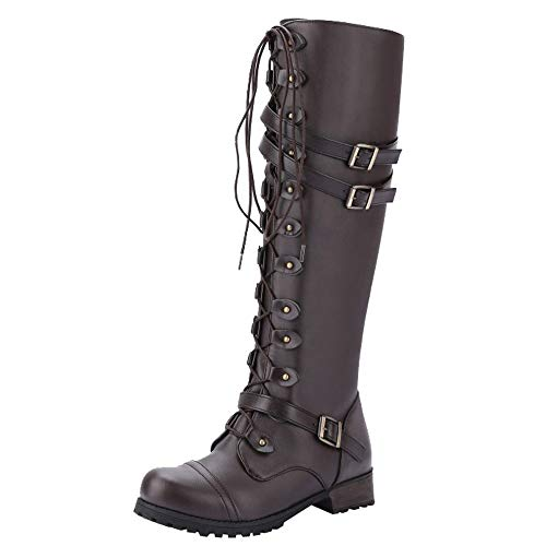 Ouneed- Womens Ladies Women Boots, Cool Gothic Retro Punk Buckle Military Combat Style Lace-Up Boots Brown