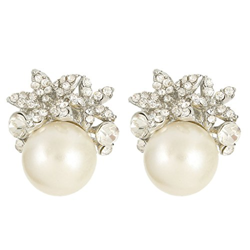 EVER FAITH Bridal Silver-Tone Flower Simulated Pearl Stud Earrings Austrian Crystal Clear - Pierced