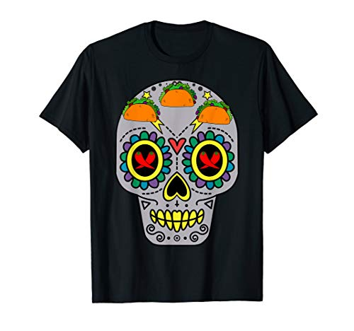 (Mexican Sugar Skull Calavera with Tacos and Chili Pepper T-Shirt)