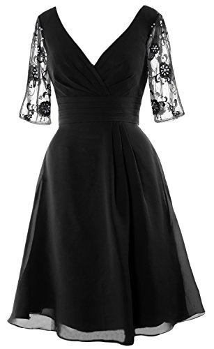 MACloth Women Half Sleeves V Neck Cocktail Dress Short Mother of the Bride Dress (18w, Black) by MACloth