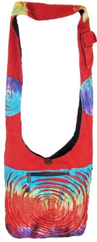 Shangri-La Nook Cotton crossbody Ripped Gypsy Bag Handmade Nepal Red
