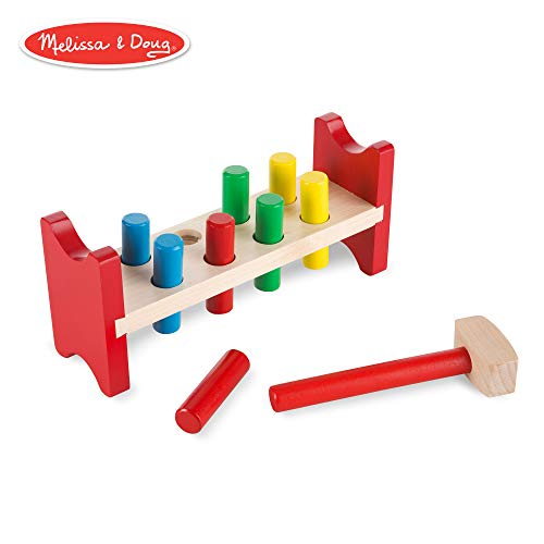 Melissa & Doug Deluxe Pounding Bench Toddler Toy (Wooden Toy, With Mallet)