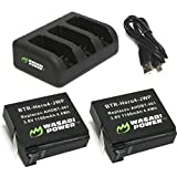 Wasabi Power HERO4 Battery (x2) and USB Triple Charger for GoPro AHDBT-401, Hero 4
