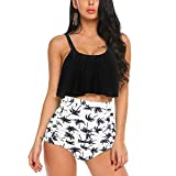 SS Queen Womens Leaves Printing Swimsuits High Waisted Bikini Two Pieces Bathing Suit
