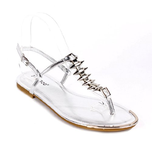 Fashion Bamboo Ankle Strap Flats Buckle T-strap Womens Gladiator Sandals Casual Shoes New Without Box Silver djJUn