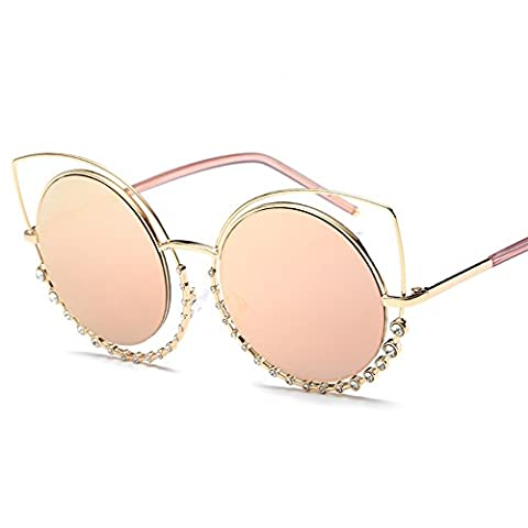 VeBrellen Twin-Beams Classic Women Sunglasses Metal Frame Mirror Lens Glasses With Diamond Design (Gold Frame With Pink Lens, - Design Metal Fashion