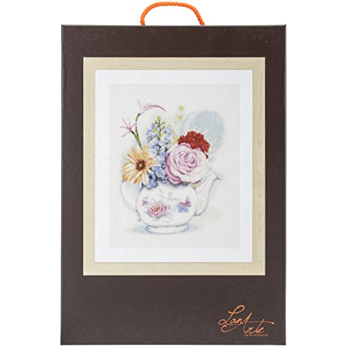 Vervaco LanArte Flowers in Teapot on Linen Counted Cross Sti