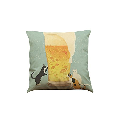 Price comparison product image Challyhope Cute Funny Cat Sofa Bed Home Decoration Festival Square Throw Pillow Case Cushion Cover