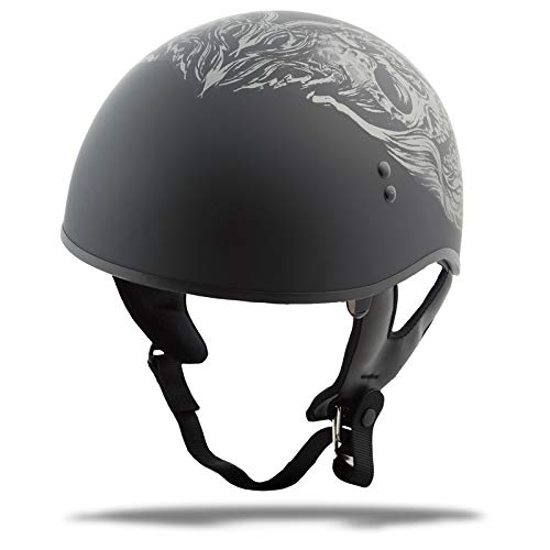 GMAX GM65 Naked Mens Half Face Street Motorcycle Helmet - Ghost/Rip Flat Black/Silver/Medium (Best Helmet For Naked Bikes)