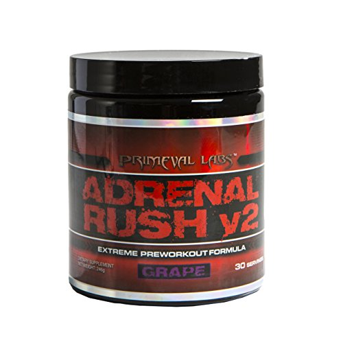 Primeval Labs Adrenal Rush - V2 Stimulant Pre-Workout Formula - Utilizes Creatine for Energy, Strength, Endurance, Increased Protein Synthesis and Healthy Mitochondrial Energy - Grape
