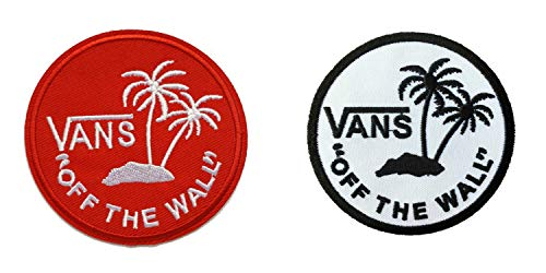 Off The Wall Skateboard Sew/Iron On Patch InspireMe Family Owned (Round Red/Round White)