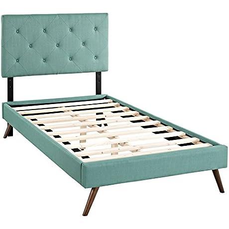 Modern Contemporary Urban Design Bedroom Twin Size Platform Bed Frame Blue Fabric Wood
