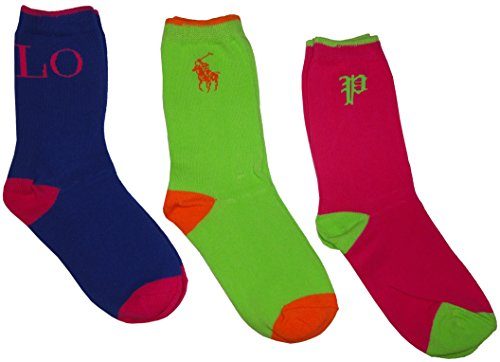 Polo Ralph Lauren Girls Socks Neon Green, Pink and Blue, 8-9.5 (pack of 3)