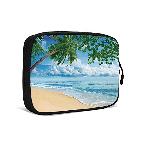 ical Data Storage Bag,Sandy Tropical Beach in Summertime Sunny Day Seacoast Seascape Horizon Decorative for Traveling,9.0