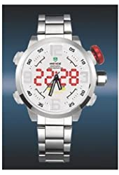 Weide Mens LED Date Day Black Sport Military Stainless Steel Alarm Quartz Wrist Watch (White Face)